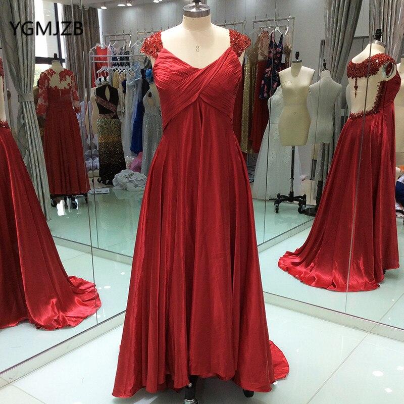 Элегантный Формальное длинное вечернее платье для беременных Для женщин бисером Кристалл спинки пола Длина Красный Вечерние платья Robe De ...