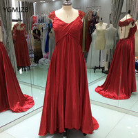 Elegant Formal Long Evening Dress For Pregnant Women Beaded Crystal Backless Floor Length Red Evening Prom