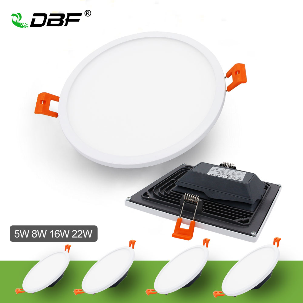 цена [DBF]Upgrade Ultra thin LED Panel Downlight 5W 8W 16W 22W 4014 SMD Ceiling Recessed Down Lamp with AC85-265V Build-in LED Driver