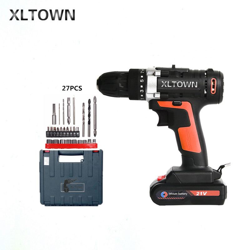 XLTOWN 21v multi-function cordless electric screwdriver high-power rechargeable lithium battery electric drill power tools xltown 12 16 8 21v cordless lithium electric drill with 2 battery multi function rechargeable electric screwdriver power tools