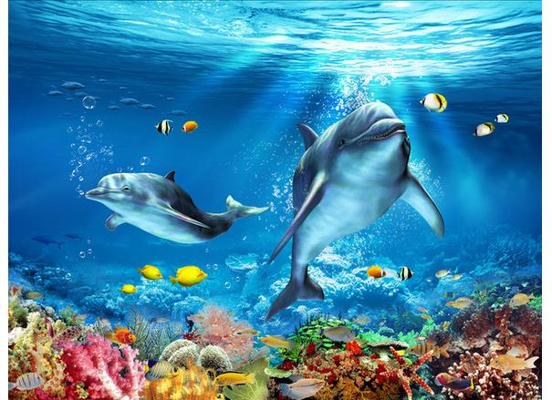 ФОТО Custom photo Waterproof floor wallpaper Dolphins 3 d underwater world 3d mural PVC wallpaper self-adhesion floor wallpaer