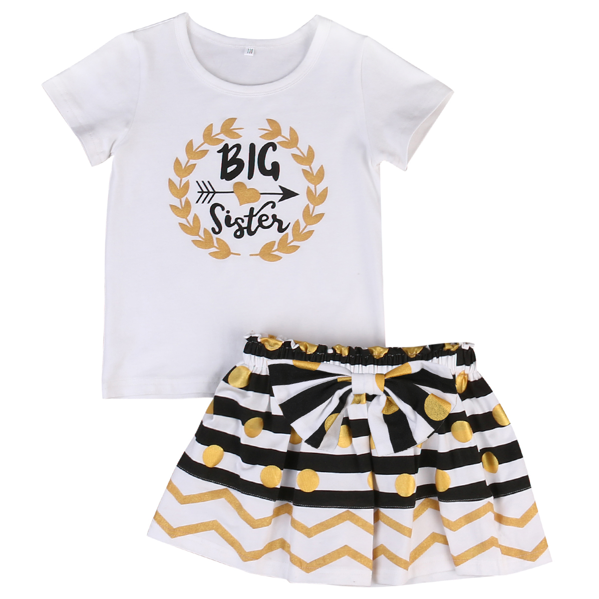 2017 Cute Newborn Baby Girl Clothes Set 0-7Y Little Sister Bodysuit Big Sister T-shirt +Bow Skirt 2PCS Outfits Children Clothes newborn infant baby girl little sister romper pants headband outfits set clothes children infant girls sister clothing set 2pcs