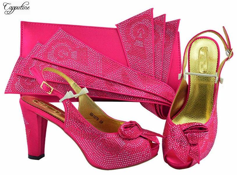 c6480cbf966e2c Mode Lady Ensemble De Soirée À Cm Sac Et 10 Hauteur Sandale Incroyable Haut  La Avec Main Strass Talon Mm1076 Chaussures Fuchsia ...