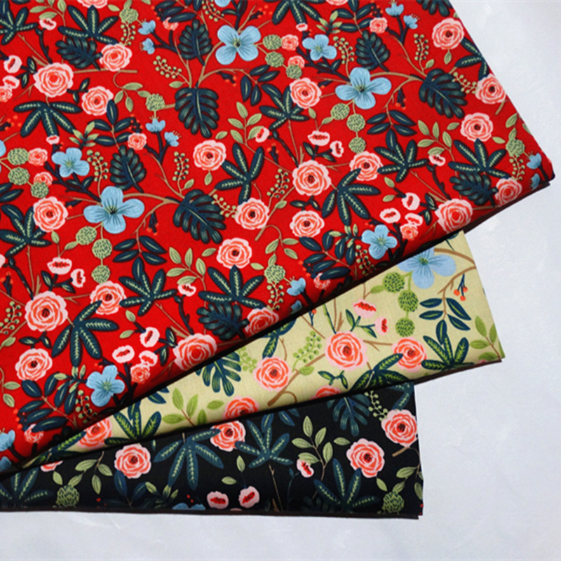 half meter reactive red flower print patchwork cotton fabric for Tissue Kids bedding home textile Sewing Tilda Doll B241