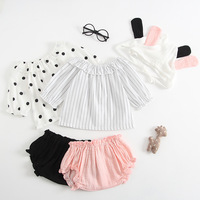 Summer Korean Style Infant Baby Girls Clothes Set Cute Dot Printed Short Sleeve Tops Shorts Hat