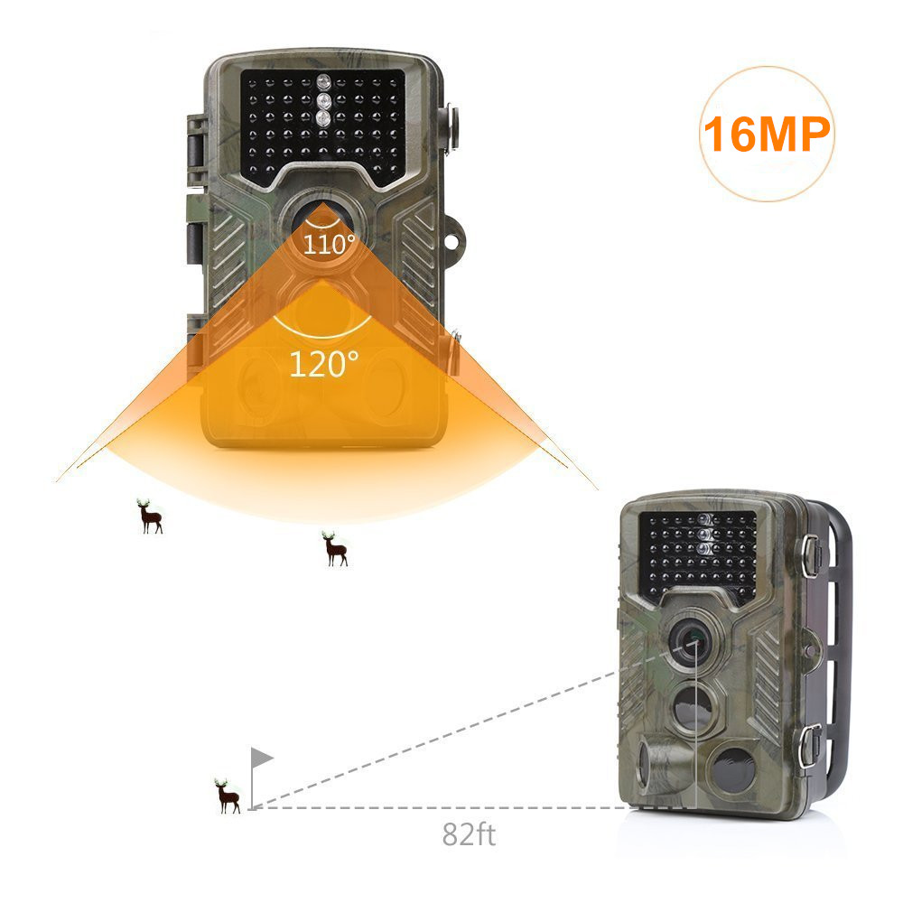 Hunting Trail Camera 16MP 1080P HD With Time Lapse 65ft 120 Wide Angle Infrared Night Vision 46pcs IR LEDs 2.4 LCD Screen cam