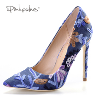 Pink Palms Summer Autumn New Arrival Women High Heels Shoes Embroider Denim Pointed Toe Party Wedding