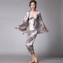 67c4cf59c 2017 Topo da Classe das Senhoras Mulher Meninas V Neck Confortável Seda  Conjuntos de Pijama sleepwear