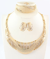 Africa Dubai Jewelry Set For Women Gold Plated Crystal Beads Collar Necklace Earring Bangle Fine Ring