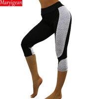 Maryigean женские леггинсы Ptachwork сетчатые черные Капри Леггинсы Плюс Размер Сексуальные фитнес-спортивные штаны Mid-брюки до икр