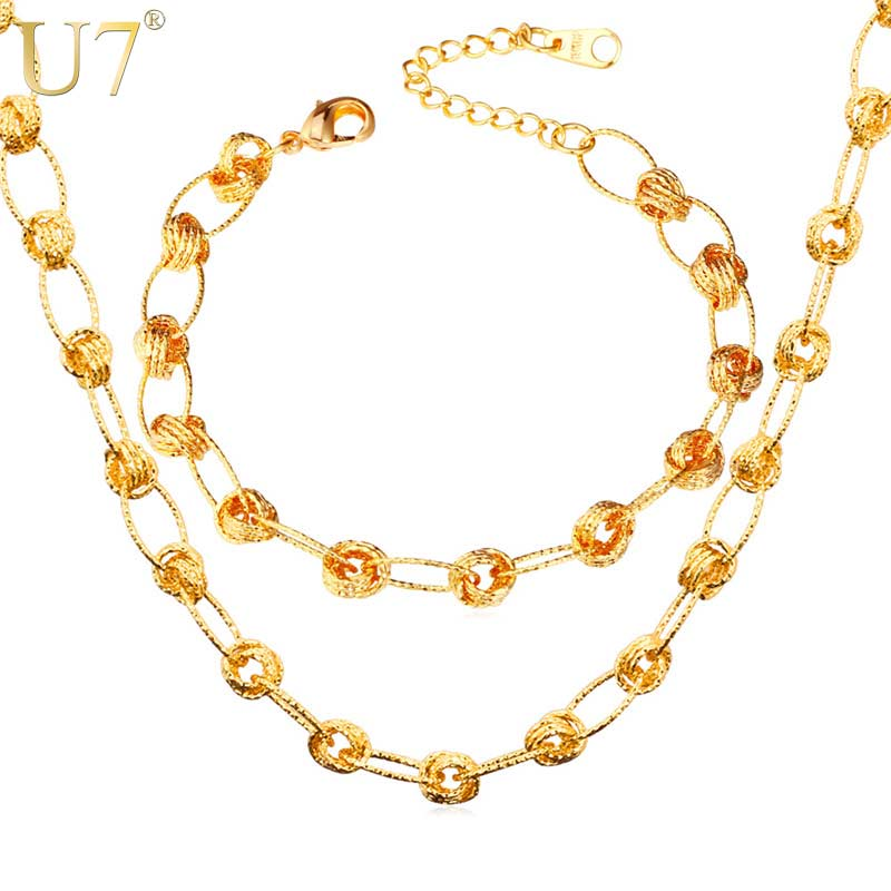 Aliexpresscom Buy U7 Gold Color Jewelry Set For Women Fashion
