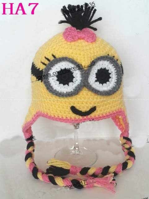 f8b015e74be placeholder 100% Handmade Crochet Baby Hat Infant Winter Earflap Hat  Cartoon Minion hat Beanie Photo Prop
