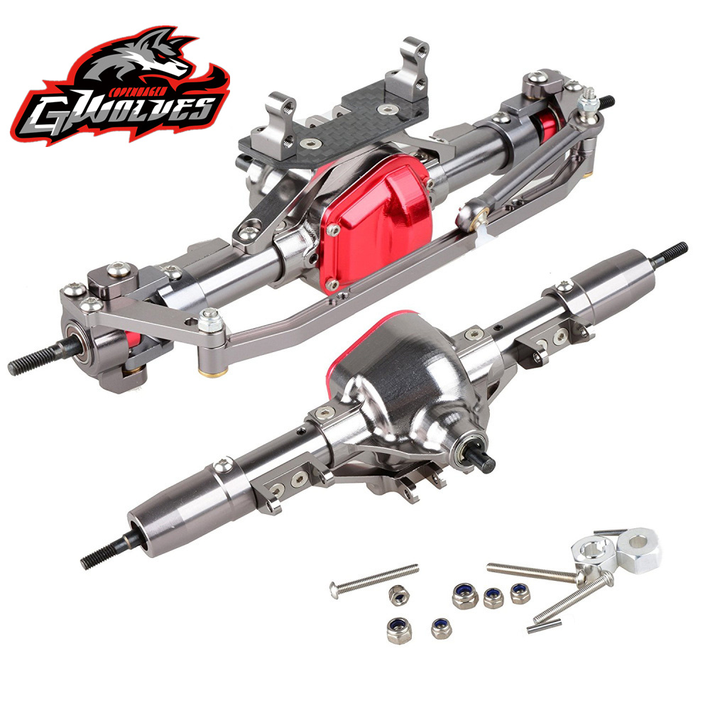 GWOLVES high Quality CNC all Alloy 1:10 Rc Crawler Front And Rear Axle For AXIAL SCX10 90022 90028 90021 RC4WD rc parts alloy aluminum front rear suspension links bracket rod 13mm and 14mm for rc car 1 10 axial scx10 crawler electric scx0003