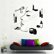 Beauty Salon Wall Sticker Makeup Artist Women Girls Room Decor Vinyl Art Removeable Poster Mural Fashion Style Decals LY834 цена и фото