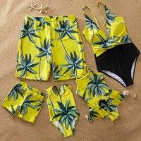 Maillot de bain famille palmier correspondant maillot de bain mère fille bébé bikini papa fils maillot de bain famille correspondant vêtements tenues look