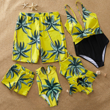 family swimwear palm tree matching swimsuit mother daughter baby bikini dad son