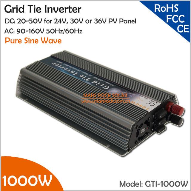 1000W 20-50VDC Grid Tie Solar Inverter, 90-140VAC Pure Sine Wave Inverter for 24V, 30V, 36V PV module and Wind Turbine