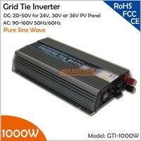 1000W 20 50VDC Grid Tie Solar Inverter, 90 140VAC Pure Sine Wave Inverter for 24V, 30V, 36V PV module and Wind Turbine