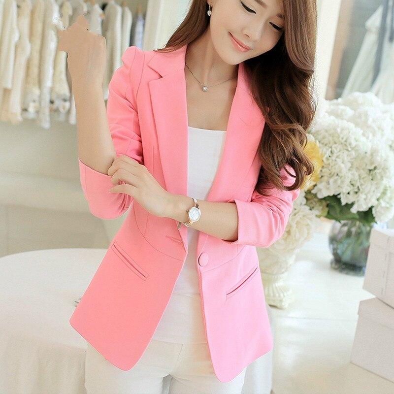 PEONFLY Ladies Blazer Long Sleeve Blaser Women Suit jacket Female Feminine Blazer Femme Pink Blue White Black Blazer Autumn 1