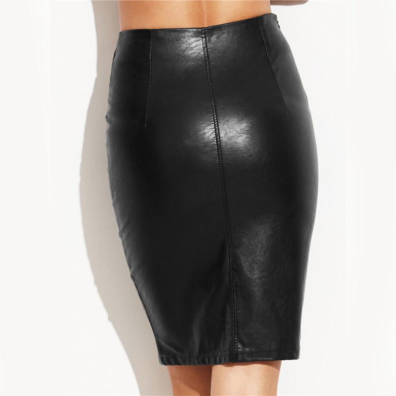 COLROVIE PU Leather Bodycon Woman Skirts 2017 Female Sexy Clothing Autumn Winter Punk High Street Stylish Black Midi Skirt 8