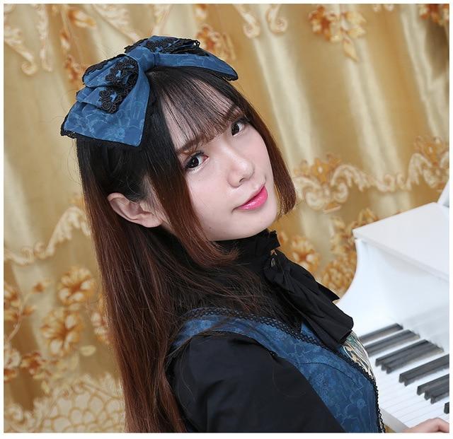 Sweet Printed Lolita Headpiece Cute Girl's Headband with Lovely Bow