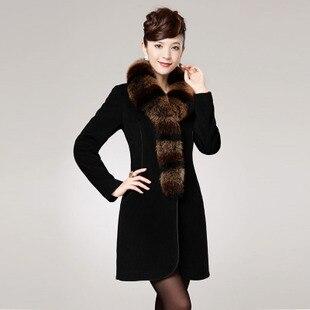 Winter temperament high quality women's elegant style slim zipper cashmere overcoat with fox fur