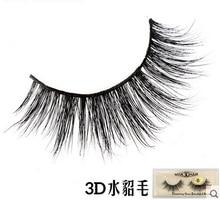 2016 New 1 pair100% handmade real mink fur long false eyelash 3D strip mink lashes thick fake faux eyelashes Makeup beauty tool