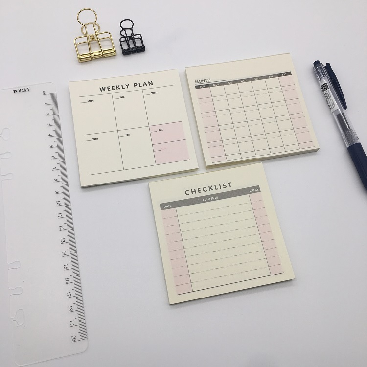 9*9cm Small Paper Memo Pad Check List Week Month Planner Notepad, Office School Desk Portable