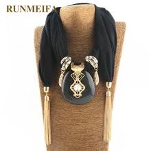 лучшая цена RUNMEIFA New Pendant Scarf Necklace for women Long Tassel Black / white / khaki Chiffon Necklaces Necklaces Jewelry Gift #SW1852