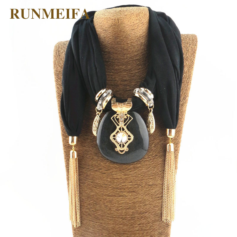 RUNMEIFA New Pendant Scarf Necklace for women Long Tassel Black / white / khaki Cotton Necklaces Necklaces Jewelry Gift #SW1852