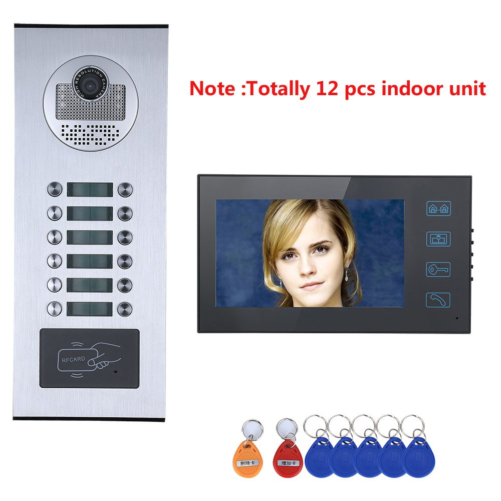 Touch Butto12 Button 12 7inch Monitor 8/9/10/11/12 Apartments Video Door Phone Doorbell Intercom System RFID IR-CUT 1000TVL