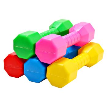 Gorąca sprzedaż 2 sztuk dzieci Dumbell odkryty plastikowy sprzęt do ćwiczeń dla dzieci wydajność taniec narzędzie Sport ćwiczenia zabawki Dropshipping tanie i dobre opinie Dziecko Electroplate 0 15KG Hantle gumowe powleczony materiałem Kompleksowe fitness ćwiczenia Red Pink Yellow Blue Green