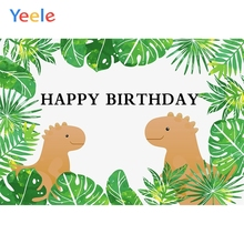 Yeele Birthday Backdrop Clever Dinosaur Green Plant Photography Backdrops Personalized Photographic Backgrounds For Photo Studio