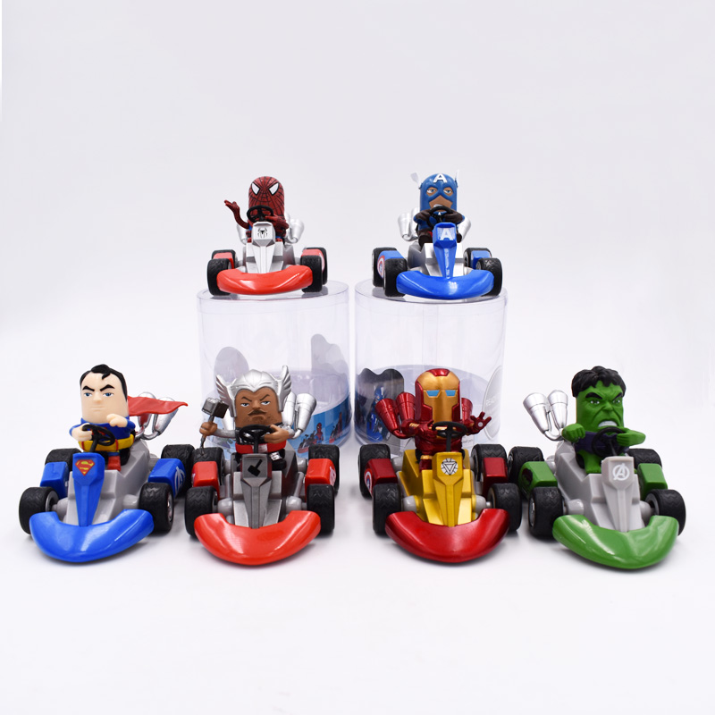 13cm Spiderman Batman Superman Ironman Hulk Captain America Thor Figure Toys Kart Pull Back Car Pvc Figma Kids Hot Toys