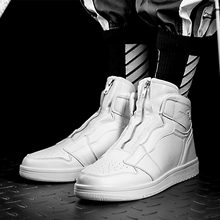 Men's High Top Shoes Fashion Casual Sneakers Zip Trend Footw