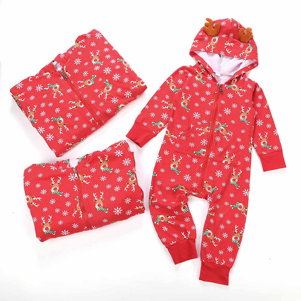 e7cab5d73 ... MUQGEW Kid Baby Boy Girl Hood Romper Jumpsuit Family Pajamas Sleepwear  Christmas Outfit Baby Clothes ...