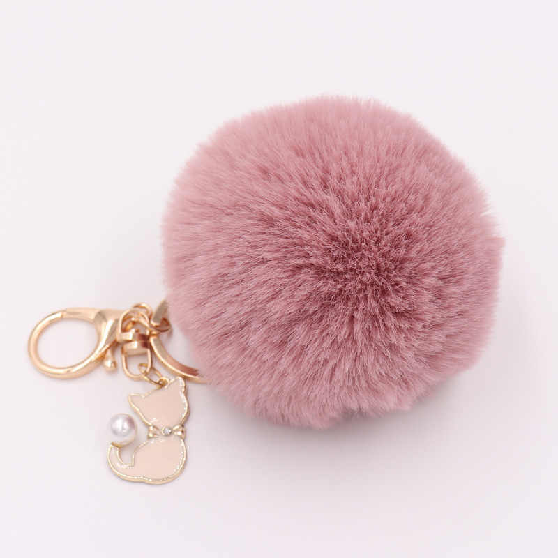 RE Gato pingente chaveiro chaveiro bola de pêlo de coelho pompom pompom fofo chaveiro das mulheres chave do carro titular saco encantos chave anel K40