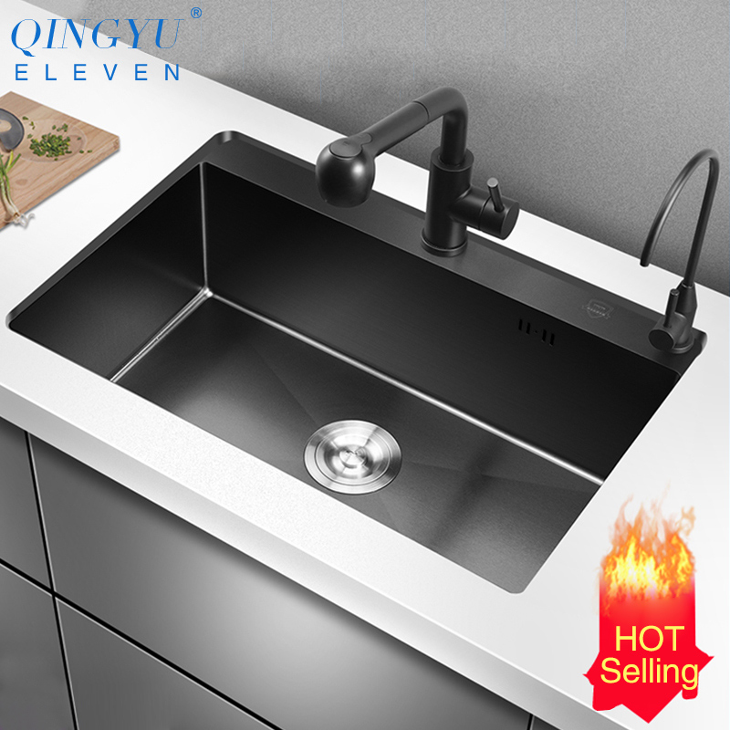 Kitchen Sink Nanometer Antibacterial Black 304 Stainless Steel 3-4mm Thickness Manual Single Bar Counter Kitchen Sink