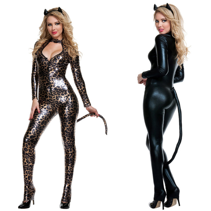 Black Leopard Sexy Catwoman Costume Low Cut Out Leather PVC Bodysuit Fantasia Cat Tail Ears Halloween Cosplay Fetish Clubwear leggings