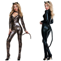 Black Leopard Sexy Catwoman Costume Low Cut Out Leather PVC Bodysuit Fantasia Cat Tail Ears Halloween Cosplay Fetish Clubwear
