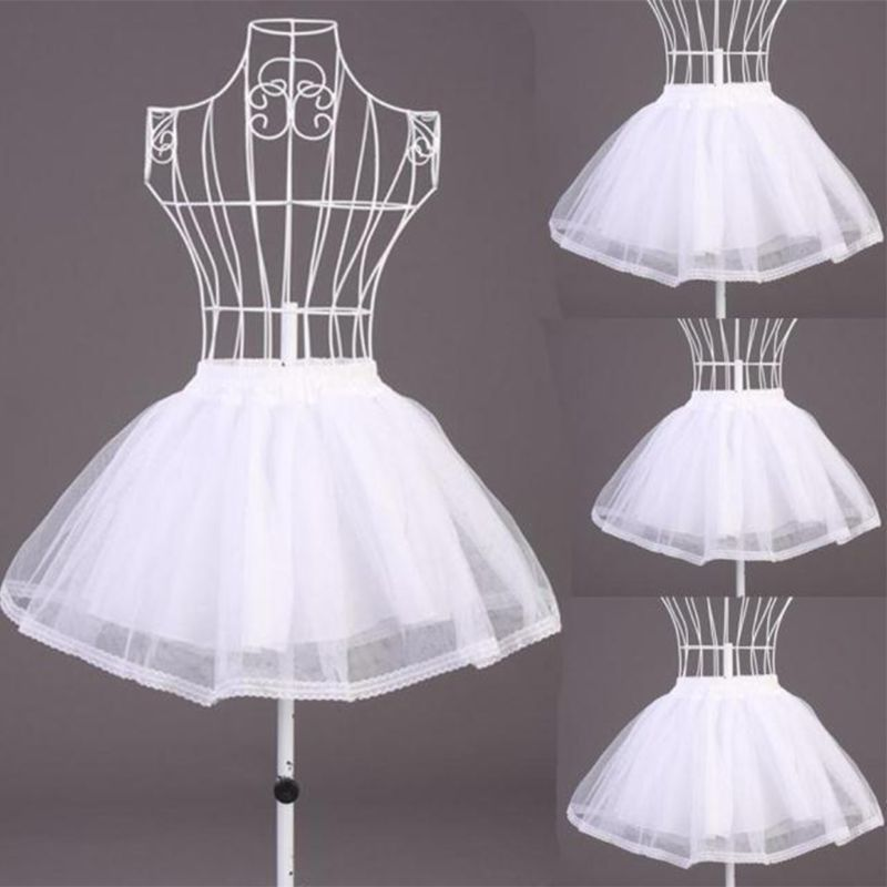 Double Layers Solid Color Short Tulle Petticoats Elastic Waistband A Line Mesh Underskirt Crinoline For Wedding Dress
