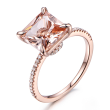 MYRAY 8mm Princess Cut Natural Pink Morganite Ring Diamond Engagement Rings Vintage 14k Rose Gold Wedding Bridal Women Ring Band