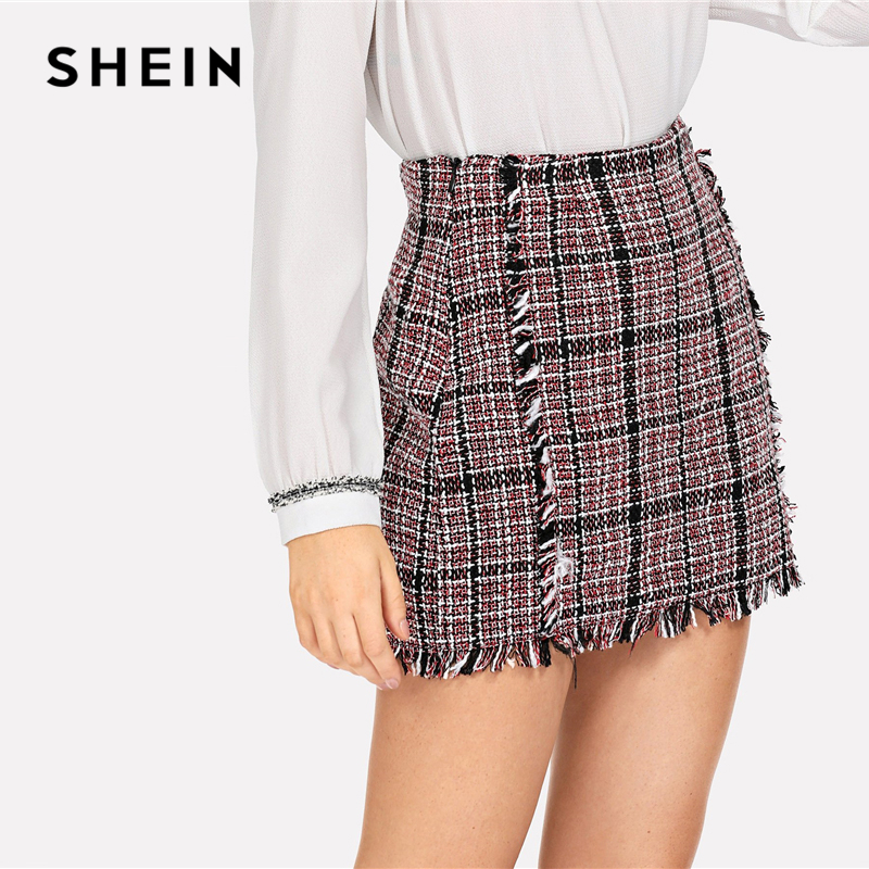 SHEIN Multicolor Office Lady Elegant Frayed Edge Trim Plaid Tweed Mid Waist Skirt 2018 Autumn Highstreet Fashion Women Skirts 2