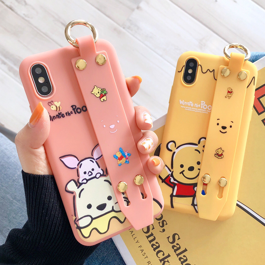 Cartoon Phone Case for iPhone X XS Max XR Cute Winnie Pooh Cover for iPhone 7 8 6 6S Plus Silicone TPU Coque Wrist Strap Case winnie the pooh iphone case