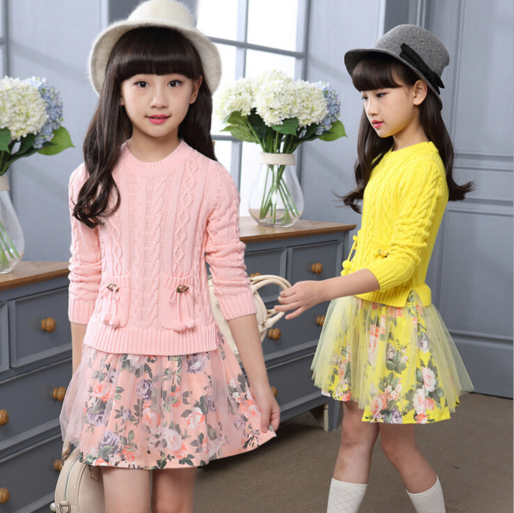 Brand Kids Girls Knitted Sweater Dresses Princess Pullovers sweaters Princess Dress with shivering for Autumn Winter HB1158 brand kids girls dress autumn winter