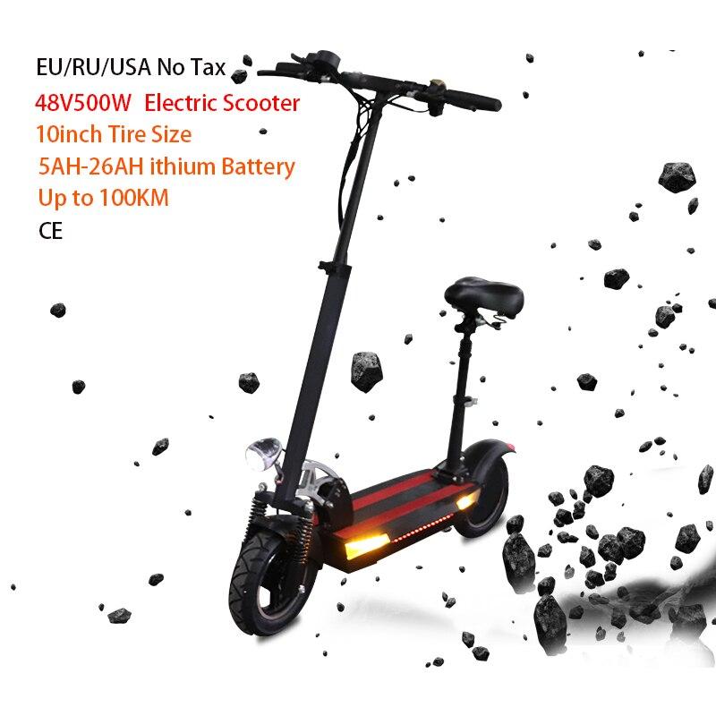 Longue Distance 100km 48V 500w Scooter électrique 48V26AH 10 pouces puissant planche à roulettes électrique Patinete électrique adulte Scooter