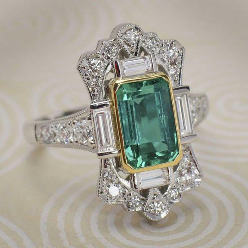 高級グリーンジルコン婚約指輪ヴィンテージ銀色の王冠充填結婚指輪女性のファッションジュエリー 2019 O4M226