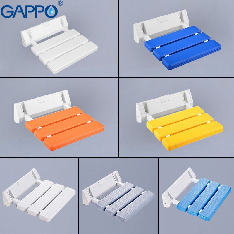 GAPPO wall mounted folding shower chairs for elderly toilet Shower Seats for disabled Waiting Chairs Bathroom chair Cadeira 翻轉 貓 砂 盆