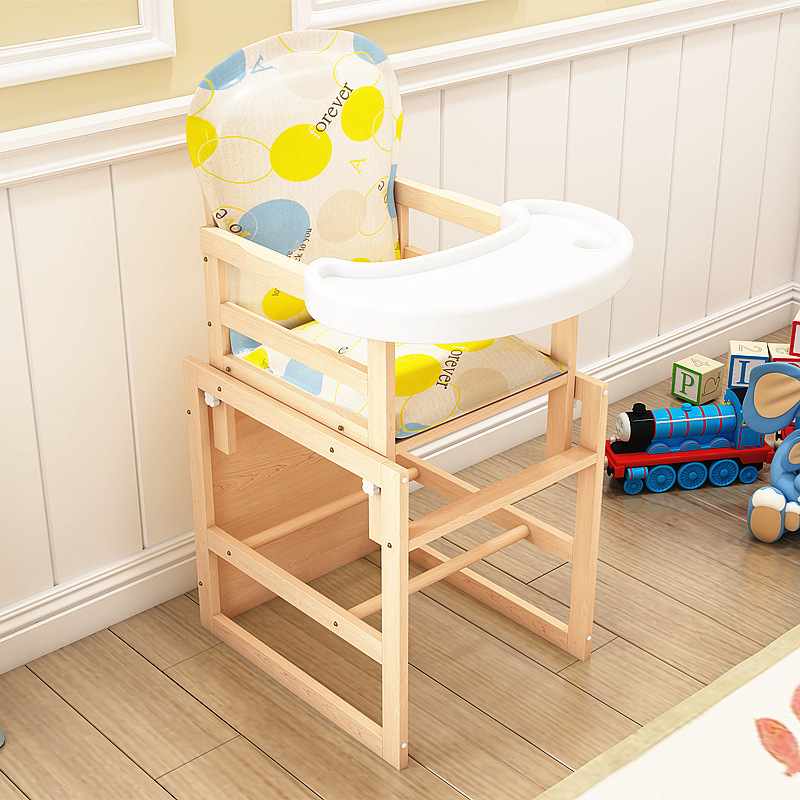 Baby Seat Chair Portable Cartoon Baby Dining Chair Table Solid Wood Adjustable Wooden Baby High Chair Feeding Children Feeding