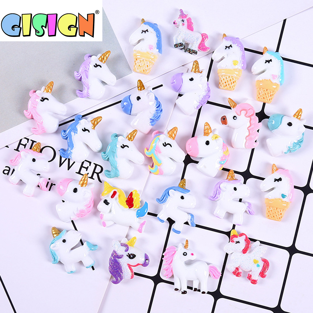 1/3/5/10pcs Resin Unicorn Charms For Slime Supplies DIY Filler Decoration Polymer Clay Lizun For Slimes Anti-stress Toys